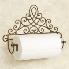 The Cassoria Antique Gold Wall Mount Paper Towel Holder features an elegant and sophisticated scrolling motif. This metal accent is handcrafted. Kitchen Organization Wall, Paper Organization, Iron Furniture, Paper Towel Holder, Paper Holders, Iron Art, Iron Decor, Gold Walls, Summer Diy
