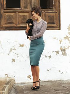 Lovely look - nothing like going around holding a puppy to add to your outfit!