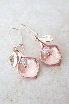 Calla Lily earring rose gold leaf pearl wedding