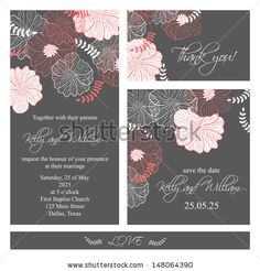 Wedding invitation, thank you card, save the date cards. Wedding set. RSVP card by Lyubov Lomonos, via ShutterStock