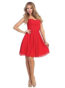 Red Pleated Stunning Chiffon Strapless Sweetheart 2015 Homecoming Dress Bendigo