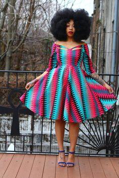 ZARIAH African Ankara Wax Print Dress