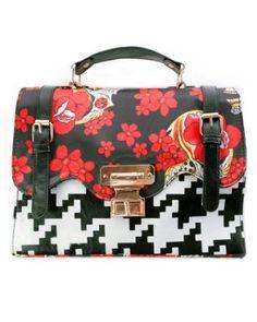 Iron Fist Fox Trot Mexican Sugar Skulls and Houndstooth Printed Vegan Handbag Purse,$58.00