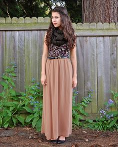 Discover this look wearing Bronze Forever 21 Skirts, Black Jujubes Scarves, Deep Purple Urban Outfitters Tops - Forever Gone by DailyDoseofDana styled for Bohemian, School in the Spring Cute Skirt Outfits, Maxi Outfits, Modest Outfits, Modest Fashion, Spring Outfits, Apostolic Fashion, Church Outfits, Church Clothes, Fall Clothes