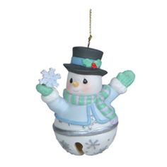 Precious Moments Snowman Jingle Bell Hanging Ornament