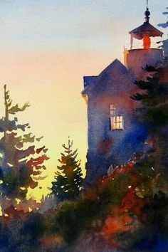 Watercolor landscape house