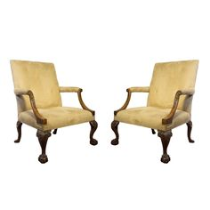 Pair of George III Style Mahogany Library Armchairs, Early 19th Century | See more antique and modern Armchairs at http://www.1stdibs.com/furniture/seating/armchairs