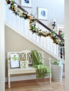 christmas garland and bench...love the wall color