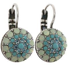 Mariana Silver Plated Moondust Round Swarovski Crystal Earrings, Blue Lagoon. Available at www.regencies.com