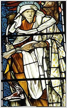 Stained glasswindow depicting St Luke by Burne-Jones. This is Stained Glass Photography's signature image.