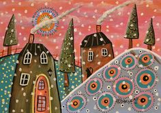 Cottages In Snow ORIGINAL Canvas Panel PAINTING Folk Art 5 x 7 Karla Gerard #FolkArtAbstractPrimitive