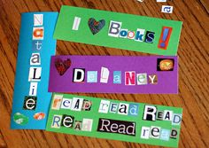 Word collage bookmark, simple sewed felt bookmark, and salt art bookmark ideas.  Twist:  Use the bookmarks to mark a page with lots of dialogue students can adapt to their own Readers Theater (RT) scripts.  For free RT scripts see www.ReadersTheaterAllYear.com.