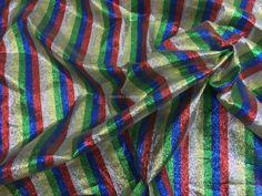 Prestige Rainbow Multicoloured Stripes Lam� Metallic Paper Lame Fabric Per Metre