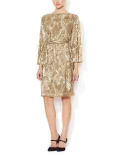 Silk Beaded Belted Sheath Dress by Reem Acra at Gilt
