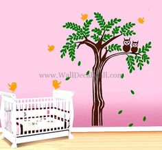 Lovely Owl on the Tree Wall Decals – WallDecalMall.com