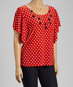Look at this Star Vixen Red Polka Dot Embellished Cape-Sleeve Top - Plus on #zulily today!