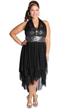 plus size homecoming dress with sequins and high low tendril skirt