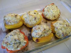 Shelly's Sausage and Ricotta stuffed peppers