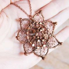 Artisan Copper Flower Pendant Wire Wrapped by NeroliHandmade