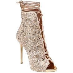 Giuseppe Zanotti For Jennifer Lopez Women 120mm Swarovski & Studs... ($3,065) ❤ liked on Polyvore featuring shoes, boots, leather sole shoes, high heel shoes, studded boots, lace up high heel shoes and lace up shoes