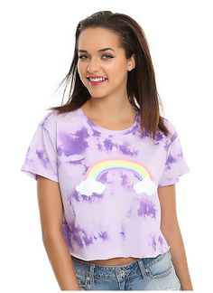 Hot Topic : Pastel Rainbow Tie Dye Girls Cropped T-Shirt