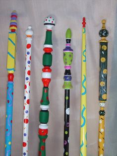 garden poles, outdoor garden art. $20.00, via Etsy.
