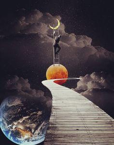 """The Big Climb"" - Collage Art Illustration Art Du Collage, Surreal Collage, Collage Artists, Surreal Art, Collages, Pop Art, Inspiration Artistique, Art Et Illustration, Tempera"