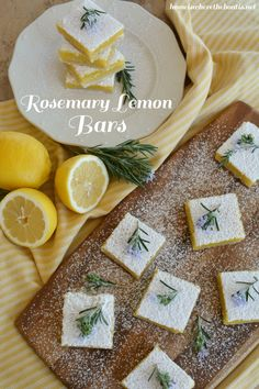 Rosemary Lemon Bars, a match made in heaven! Tart, sweet, buttery and savory, all in one luscious bite! | homeiswheretheboatis.net #lemonbars #recipe