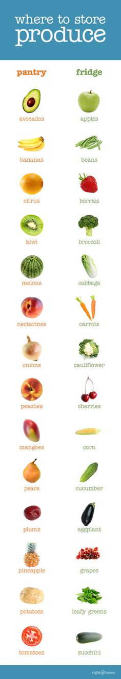 Where to store fresh produce! This is a helpful guide for keeping your produce as fresh as possible.