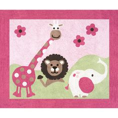 Sweet JoJo Designs Pink and Green Jungle Friends Floor Rug