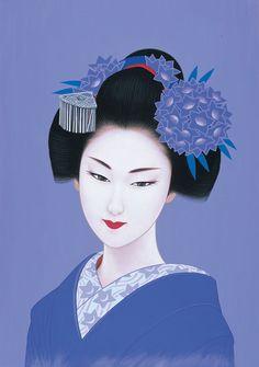 by: Ichiro Tsurato Japanese visual artist, was born in 1954 in the city of Hondo in Kumamoto Prefecture, Ichiro Tsuruta grew up in Kyushu's Amakusa Region, Japan. Art Geisha, Geisha Kunst, Japanese Geisha, Japanese Beauty, Amakusa, Art Chinois, Art Asiatique, Japanese Artwork, Japon Illustration