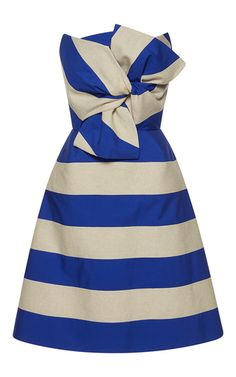 This strapless **Delpozo** dress features a knot at the bodice, contrast stripes, and an A-line silhouette.