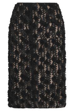 b4b28d684d Nina Ricci Appliquã Tulle Pencil Skirt in Black