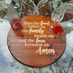 Thanksgiving Table Decor - Christmas Table Decor - Lazy Susan - Bless the food before us - Rustic Kitchen Decor - Housewarming - New Home