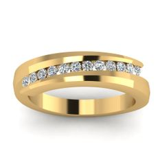 White Diamond Wedding In 18K Yellow Gold | Imperial Channel Band | Fascinating Diamonds