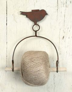 Wall Mounted Rustic French Garden Bird Twine Holder with Jute Roll