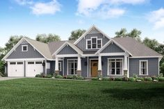 This charming four bedroom, three and a half bath craftsman style house plan features exquisite detailing such as tapered columns and trim around the windows.