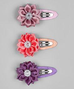 Love this Mauve Flower Clip Set on #zulily! #zulilyfinds