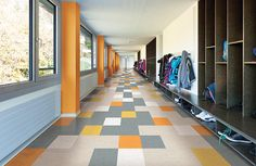 These TexTile Vinyl Composition Tiles (VCT) from Johnsonite might be made for commercial use, but they'd totally work for residential as well, especially in a kitchen or playroom. Using a random pattern in various colors creates a cool, visually stunning space.