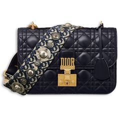 DIORADDICT FLAP BAG IN BLUE CANNAGE LAMBSKIN WITH DIOR OBLIQUE... ❤ liked on Polyvore featuring bags, handbags, shoulder bags, blue purse, lamb leather purse, lambskin handbags, lambskin purse and blue handbags