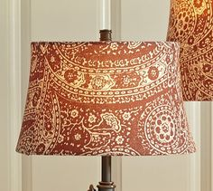 Red Paisley Drum Lamp Shade