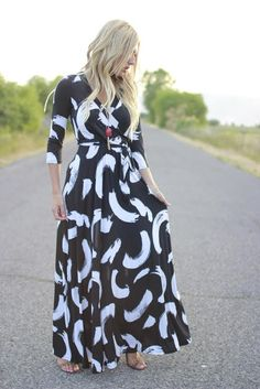 "LOVING this brushstroke print faux-wrap maxi-dress from Piper Street. Thename of this dress is ""Rylee"" and also comes in a navy/white motif called ""Shea""!"