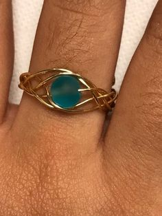 Blue Sea Glass Gold Woven Wire Adjustable Ring - Blue Adjustable Ring on . - Blue Sea Glass Gold Woven Wire Adjustable Ring – Blue adjustable ring made of gold-plated sea gla - Wire Jewelry Rings, Wire Jewelry Designs, Handmade Wire Jewelry, Handmade Rings, Beaded Rings, Sea Glass Jewelry, Wire Wrapped Jewelry, Metal Jewelry, Beaded Jewelry