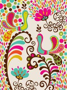 """""""Folk Fairy Tale - Birdies"""" - Canvas Wall Art from Oopsy daisy, Fine Art for Kids"""