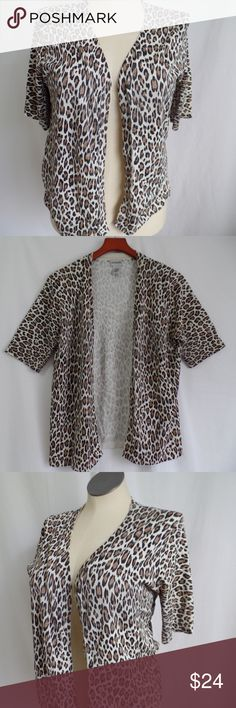 Chico's Leopard Print Silk Open Cardigan 2 12 This is a Chico's leopard print silk blend open cardigan sweater/jacket    Size Women's Chico's 2 Large 12    Content 54% silk, 24% nylon, 22% rayon   Measurements   Shoulder to shoulder 15 1/2  Sleeve length from top of shoulder 12  Chest 44  Overall Length 24 1/2    Condition Pre-owned; sweater has fading at the underarm. Chico's Sweaters Cardigans
