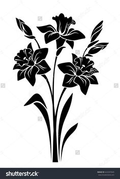 Find Vector Black Silhouette Bouquet Narcissus Flowers stock images in HD and millions of other royalty-free stock photos, illustrations and vectors in the Shutterstock collection. Simple Flower Drawing, Flower Art Drawing, Flower Drawing Tutorials, Simple Flowers, Line Art Flowers, Iris Flowers, Flower Silhouette, Black Silhouette, Stencil Patterns
