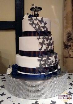 Macbeth tartan butterflies wedding cake