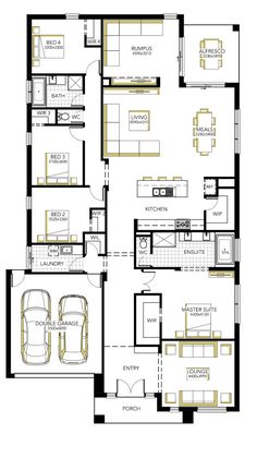 Browse the various home designs and house plans on offer by Carlisle Homes across Melbourne and Victoria. Find great house plans and home designs for your needs. 4 Bedroom House Plans, Family House Plans, Dream House Plans, Modern House Plans, House Floor Plans, Home Design Floor Plans, Plan Design, Carlisle Homes, Sims House