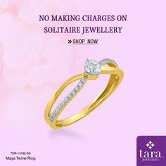 An elegant ring in gold with a cluster of diamonds at the centre perfect for everyday wear. http://bit.ly/2s8GjfK #Solitairejewellery #TaraJewellers #Diamondjewellery #Certfieddiamonds #BIShallmarkedjewellery