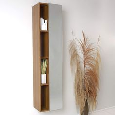 Fresca Teak Bathroom Linen Side Cabinet w/ 4 Cubby Holes & Mirror